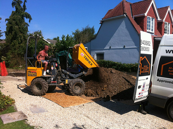 Runcton, near Chichester: Preparing the ground for domestic kitchen extension